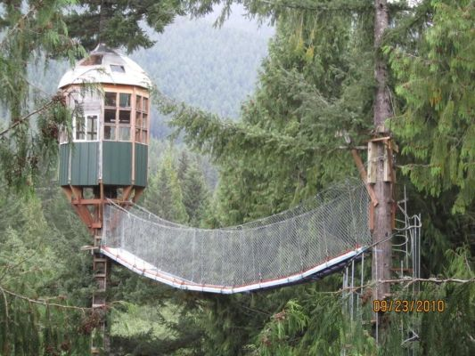 Cedar Creek Treehouse Observatory and Rainbow Bridge, as seen from the new floating treehouse web deck landing (September 2010)