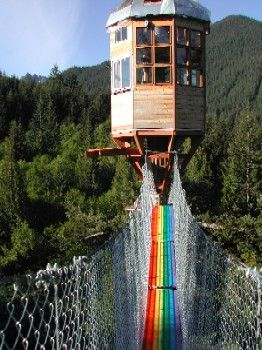 The Rainbow Bridge, fenced in, providing safe access and spectacular views of Mt. Rainier.